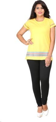 Habitude Casual, Sports Short Sleeve Printed Women's Yellow Top