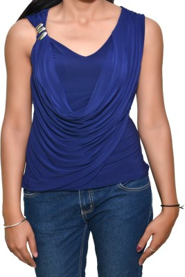 Mitra Creations Party Sleeveless Solid Women's Dark Blue Top