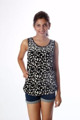 Tenn Casual, Party Sleeveless Animal Print Women's Black, White Top