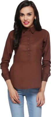 Delfe Casual Full Sleeve Solid Women's Brown Top