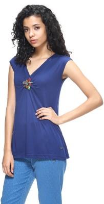 HANGNHOLD Casual Short Sleeve Solid Women's Blue Top