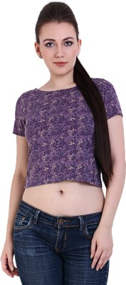 Rat Trap Casual Short Sleeve Floral Print Women's Purple Top