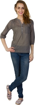Today Fashion Casual 3/4 Sleeve Solid Women's Grey Top