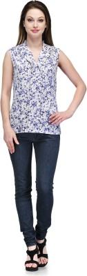 Glamdiva Casual Sleeveless Geometric Print Women's Blue, White Top