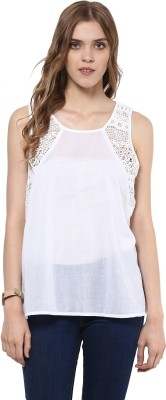 SKIDLERS Casual Sleeveless Self Design Women's White Top