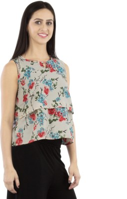 GUDS Casual Sleeveless Floral Print Women's White Top