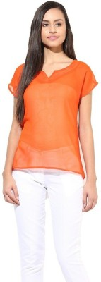 La Firangi Casual Short Sleeve Solid Women's Orange Top