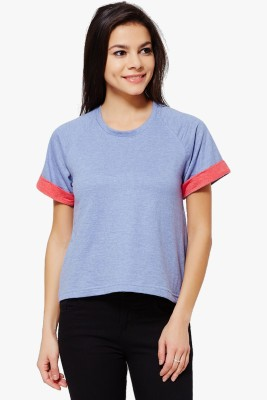 PNY Casual Short Sleeve Solid Women,s Purple Top