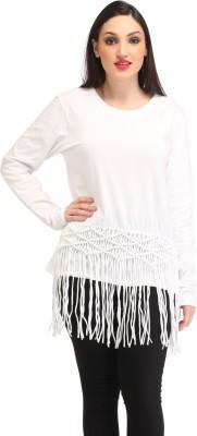 Amirich Casual Full Sleeve Self Design Women's White Top
