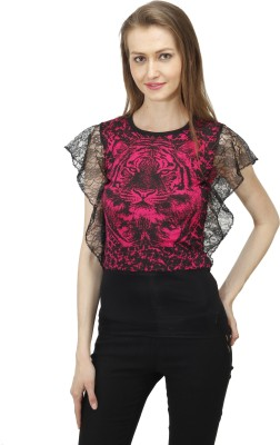 Time Expert Casual Sleeveless Printed Women's Black, Red Top