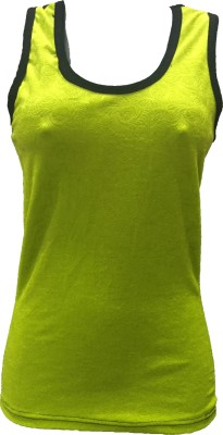 Dovekie Casual, Party, Beach Wear Sleeveless Solid Women's Yellow Top
