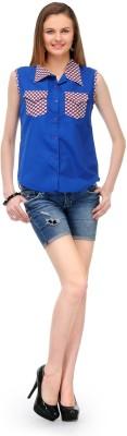 1OAK Casual Sleeveless Solid Women's Blue Top