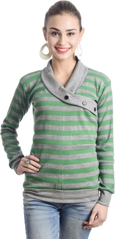 TeeMoods Casual Full Sleeve Striped Women's Green, Grey Top