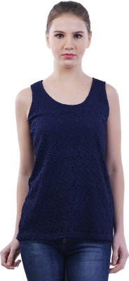 Merch21 Casual Sleeveless Self Design Women's Dark Blue Top