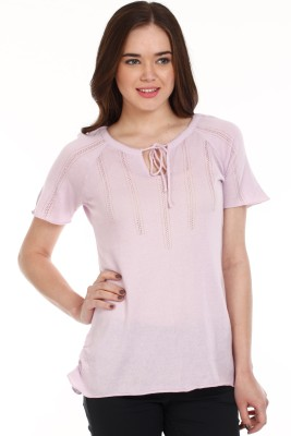 Mustard Casual Short Sleeve Solid Women's Pink Top