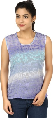 Eves Pret A Porter Casual Sleeveless Self Design Women's Purple, Blue Top