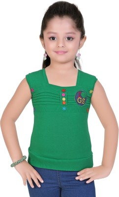 Mint Casual Sleeveless Solid Girls Green Top