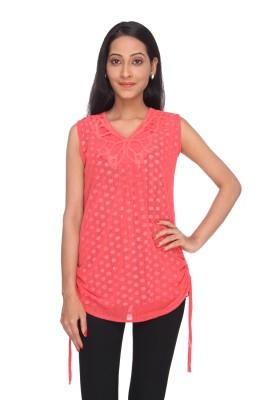 Deesha Casual, Formal Sleeveless Self Design Women's Pink Top