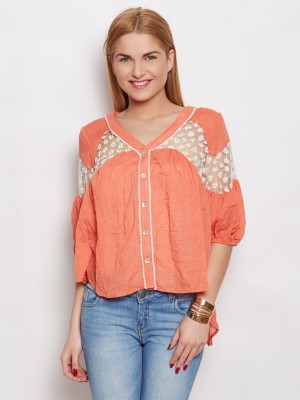 Young Threads Casual Short Sleeve Solid Women's Orange Top