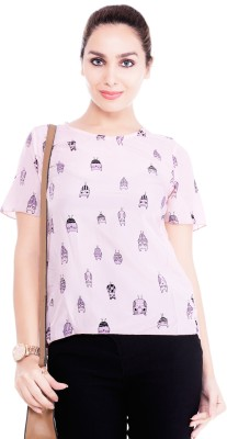 Revoure Casual Short Sleeve Graphic Print Women's Pink Top