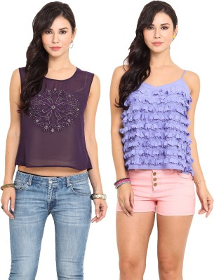Pryma Donna Casual Sleeveless Embellished, Solid Women's Blue, Purple Top