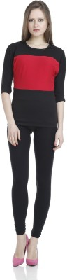 James Scot Formal, Party, Lounge Wear Short Sleeve Solid Women's Black Top