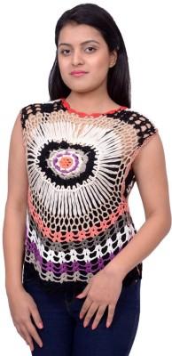 Snoby Casual Sleeveless Self Design Women's Multicolor Top