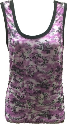 Dovekie Casual Sleeveless Printed Women's Purple, White Top