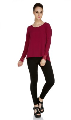 109F Casual Full Sleeve Solid Women's Pink Top