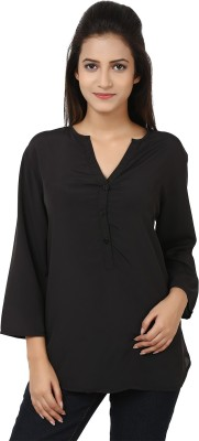 Tops and Tunics Casual 3/4 Sleeve Solid Women's Black Top