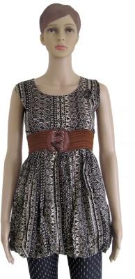 Membooz Casual, Party Short Sleeve Self Design Women's Black, Beige Top