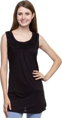 One Femme Party, Formal Sleeveless Solid Women,s Black Top