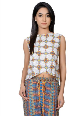 Juniper Casual Sleeveless Printed Women's White Top