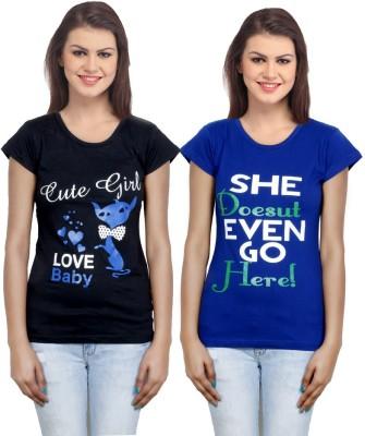 IndiWeaves Casual Short Sleeve Printed Girl's Black, Blue Top