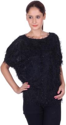 CHKOKKO Party Short Sleeve Solid Women's Black Top
