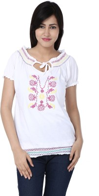 Adhaans Casual Short Sleeve Embroidered Women's White Top