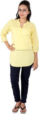 Go4it Casual, Party 3/4 Sleeve Solid Women,s Yellow Top