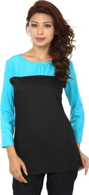 Lambency Casual 3/4th Sleeve Solid Women's Blue, Black Top at flipkart