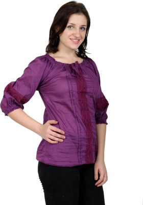 Shopaholic Casual 3/4 Sleeve Solid Women's Purple Top