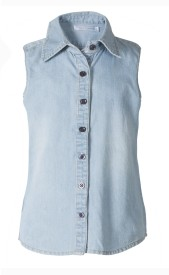 Naughty Ninos Casual Sleeveless Solid Girl's Light Blue Top