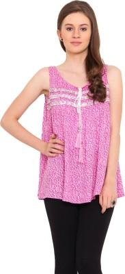La Arista Casual Sleeveless Printed Women's Pink Top