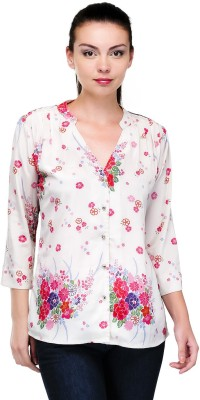 Pique Republic Casual 3/4 Sleeve Floral Print Women's White Top