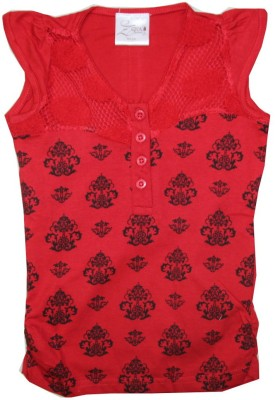 Kidsmasthi Casual Cap sleeve Printed Girl's Red Top