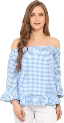 Ridress Casual 3/4 Sleeve Checkered Women's Blue, White Top