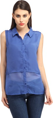 My Addiction Casual Sleeveless Solid Women's Blue Top