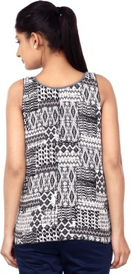 Outré Casual Sleeveless Printed Women's White, Black Top