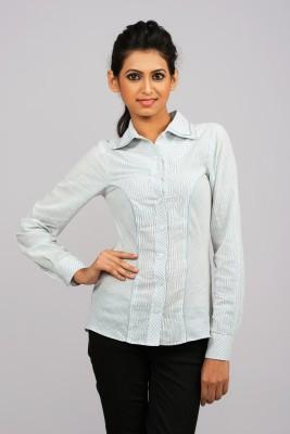 Moda Vastra Formal Full Sleeve Striped Women's White Top