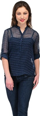 Colornext Casual Roll-up Sleeve Printed Women,s Blue Top