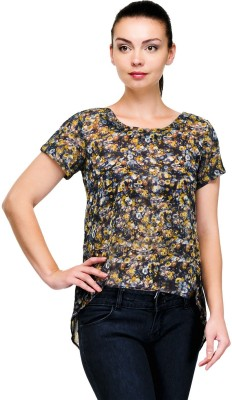 Pique Republic Casual Short Sleeve Floral Print Women's Dark Blue Top