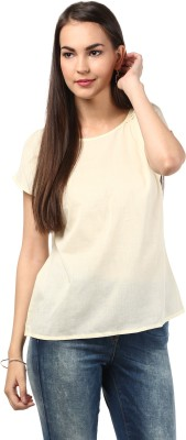 DESIGN HOUSE Casual Short Sleeve Solid Women's White Top